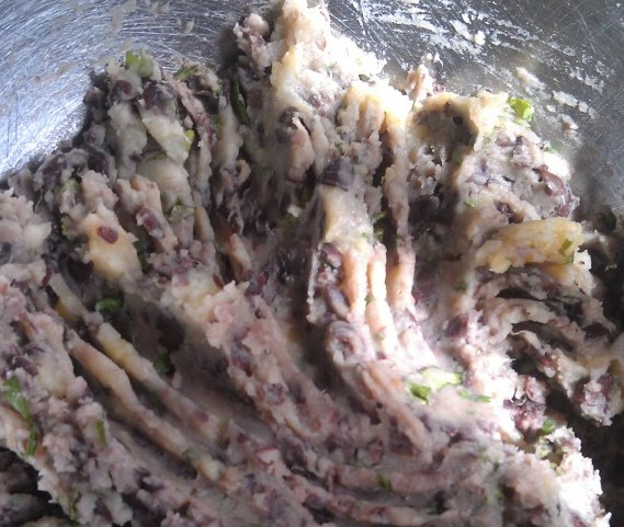 mashed black beans and potato