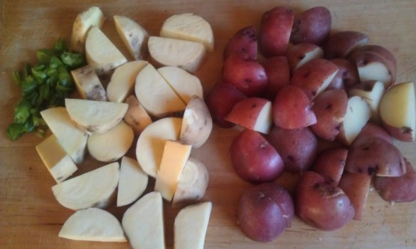 Sliced White Sweet and Red Potatoes